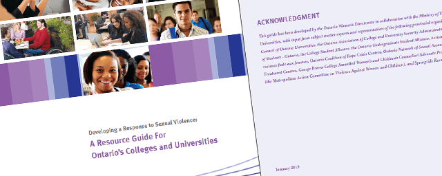 Developing a Response to Sexual Violence: A Resource Guide for Ontario's Colleges and Universities